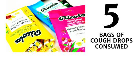 5 bags of cough drops consumed